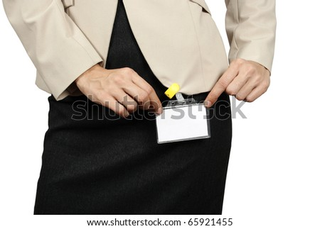 Businesswoman showing her badge - stock photo