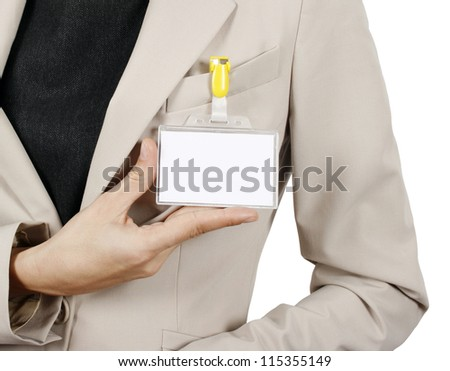 Businesswoman showing her badge isolated on white background - stock photo