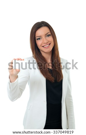 Businesswoman showing her blank white card - stock photo