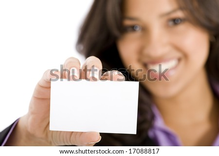 businesswoman showing her business card in an office