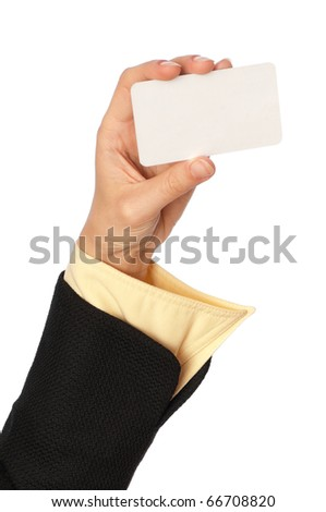 businesswoman showing her business card to the partners - stock photo