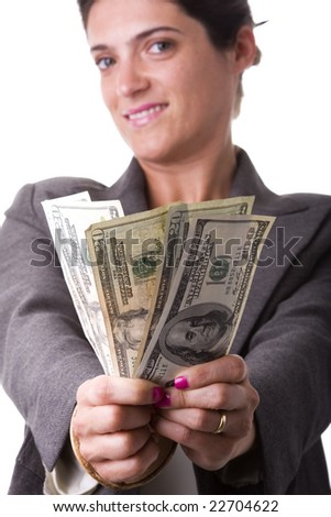 businesswoman showing her money from a jackpot (selective focus) - stock photo