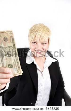 businesswoman showing her success for money, the dollars - stock photo