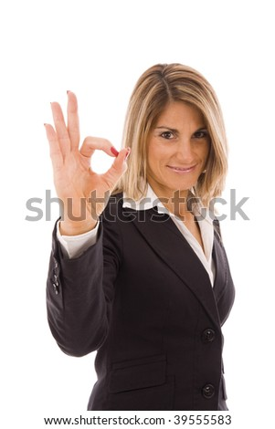 Businesswoman showing Ok sign isolated on white - stock photo