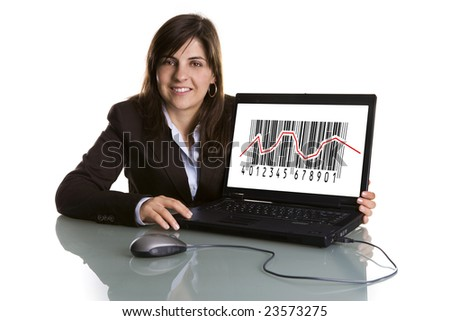 businesswoman showing sales graphic on laptop computer - isolated on white background - stock photo