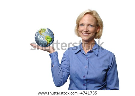 Businesswoman showing the world isolated on white