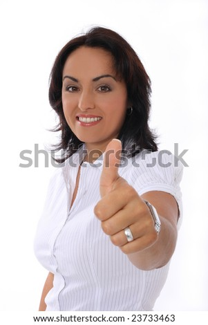 businesswoman showing thumb