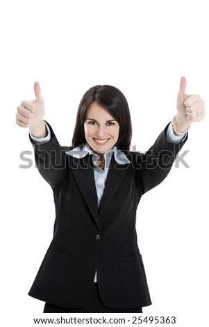 businesswoman showing thumbs up on white background - stock photo
