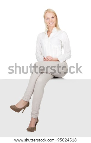 Businesswoman sitting on copyspace - stock photo