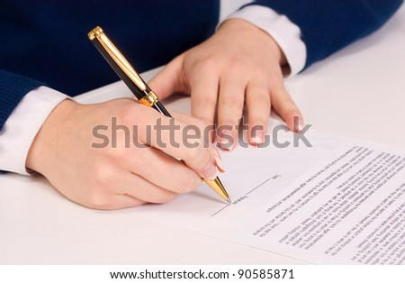 businesswoman sitting with documents sign up contract - stock photo