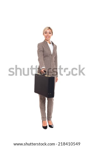 Businesswoman smile hold black briefcase, business woman brief case wear fashion wool suit, full length isolated over white background - stock photo