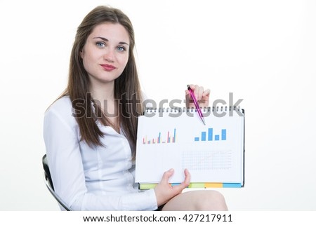 Businesswoman smile hold clipboard paper report document with finance chart, diagram, young attractive business woman. Isolated over white background empty copy space - stock photo