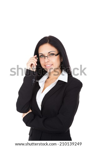 Businesswoman smile, wear eye glasses black suit, young attractive business woman isolated over white background