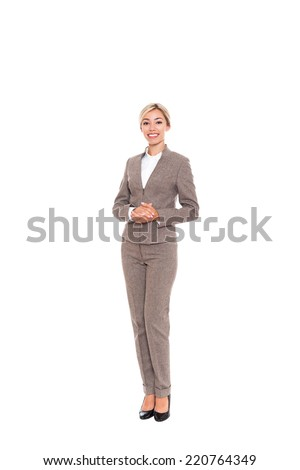 Businesswoman smile wear wool suit, young attractive business woman. Full length isolated over white background - stock photo