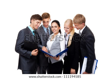 Businesswoman smile with business people work group in team, young businesspeople standing together discussing document project plan comunicating, Isolated over white background