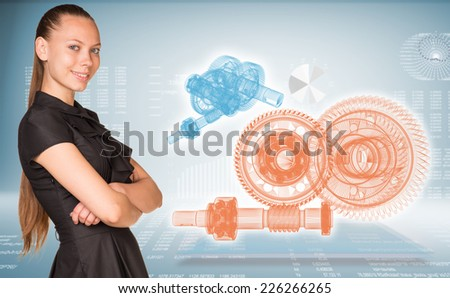 Businesswoman smiling and standing with crossed arms. Glow wire-frame gears on transparent plane - stock photo