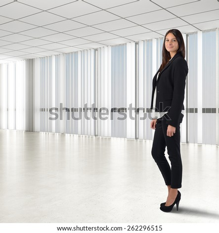 Businesswoman smiling comes to successful self confident - stock photo