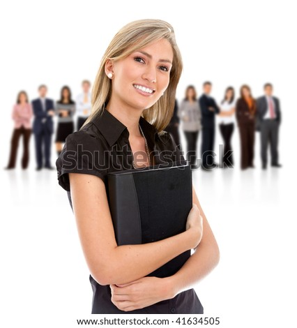 Businesswoman smiling holding a portfolio with her teamwork behind isolated on white - stock photo