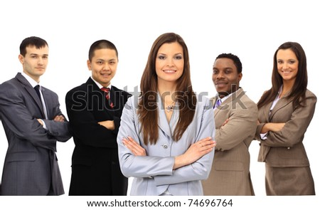 Businesswoman smiling holding a portfolio with her teamwork behind isolated on white