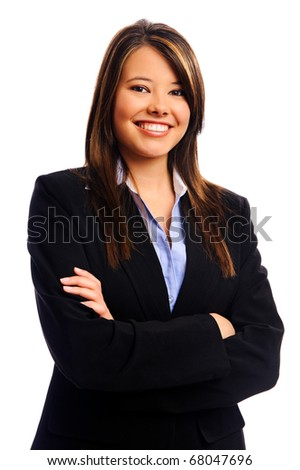 Businesswoman smiling in studio, isolated on white
