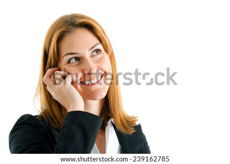 Businesswoman speaking at the phone - stock photo
