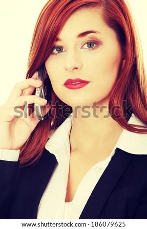 Businesswoman speaking on the phone.  - stock photo