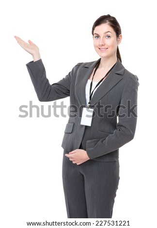 Businesswoman staff and hand show with blank sign