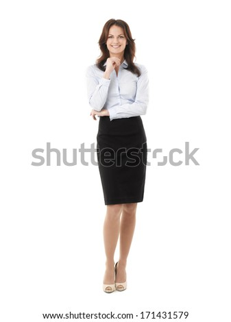 Businesswoman Standing Against White Background - stock photo