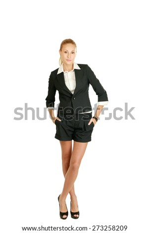 Businesswoman standing in full length isolated on white background - stock photo