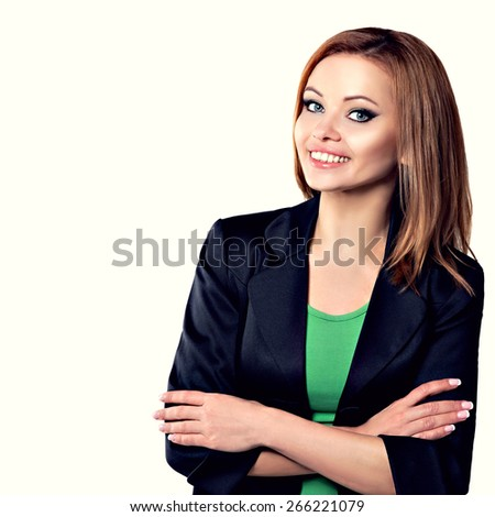 Businesswoman Standing Isolated on White Background. Happy Smiling Beauty Young Woman Portrait. Arms Crossed. - stock photo