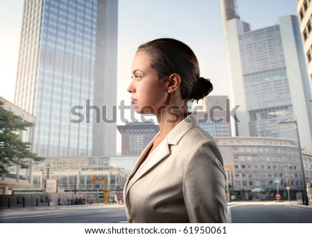 Businesswoman standing on a city street