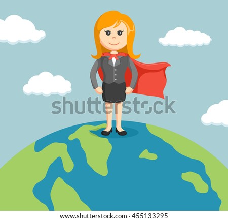 businesswoman standing on a globe with super powers - stock photo