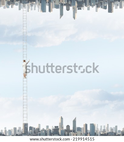 Businesswoman standing on ladder between two realities - stock photo