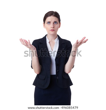 Businesswoman standing over white isolated background, business, education, office concept