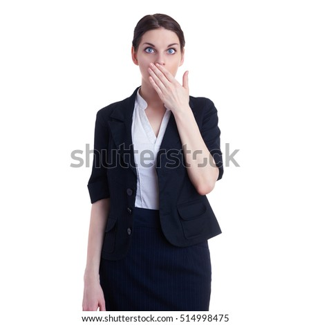 Businesswoman standing over white isolated background closing mouth with hand, business, education, office concept