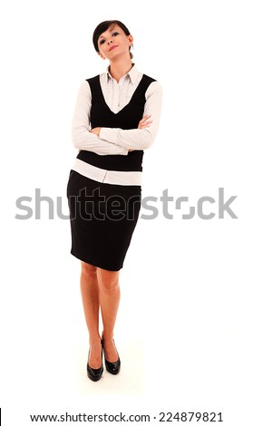 Businesswoman standing with folded arms, white background, full lenght
