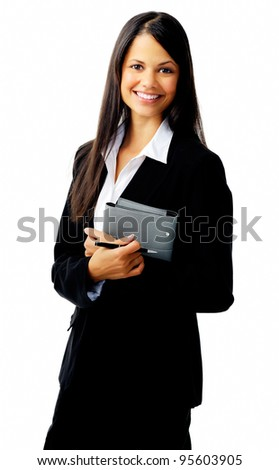 businesswoman standing with organizer diary and smiling - stock photo