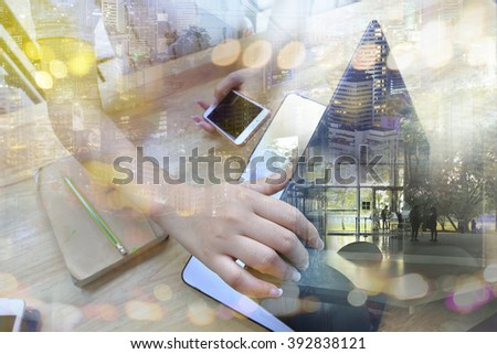 Businesswoman start or stop working with laptop and smartphone. Concept of modern technology, network connection. Image closed up hand make multiple layers and blur lens flare with blank space. - stock photo