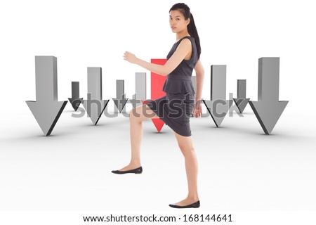 Businesswoman stepping up against room with holographic cloud - stock photo