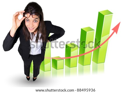 Businesswoman stood by graph - stock photo