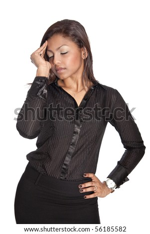Businesswoman suffering from work related headache - stock photo