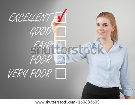 businesswoman take survey on glass board, grey background
