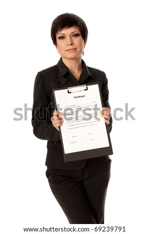 Businesswoman taking a contract for new employees - stock photo