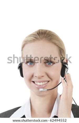 Businesswoman talking on headphones - stock photo