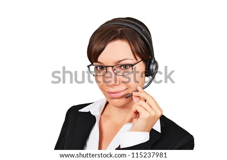 Businesswoman talking on headset, isolated on white background