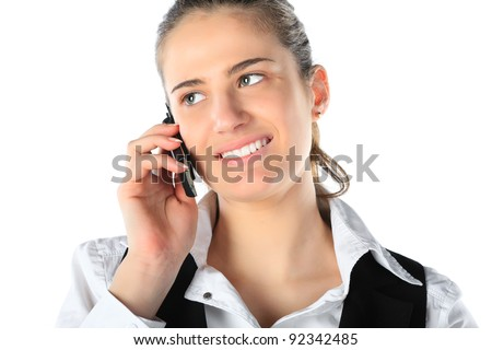 Businesswoman talking on mobile phone. Isolated on white. - stock photo