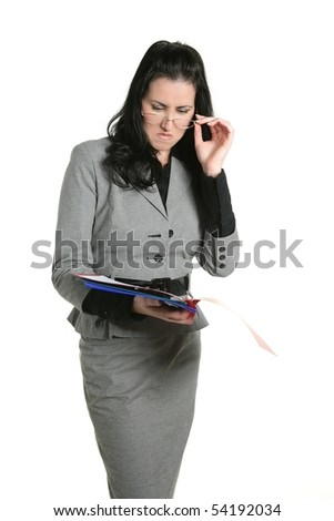 Businesswoman teacher unhappy folder document results negative expression - stock photo