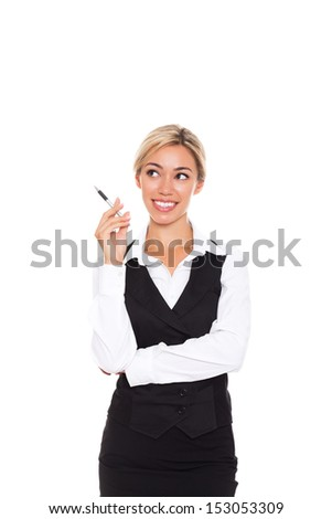 Businesswoman think looking up to empty copy space, young attractive business woman think, idea, hold hand pen chin. Isolated over white background. concept pondering - stock photo