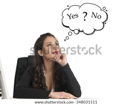 Businesswoman think with yes or no choice looking up isolated on white background
