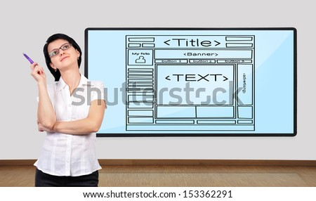 businesswoman thinking and big plasma with template website - stock photo